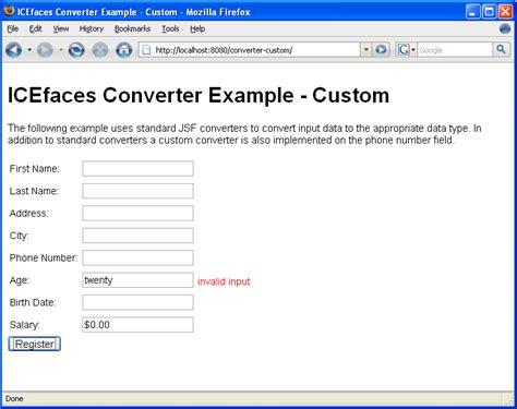 html input pattern error message icefaces jsf converter tutorial
