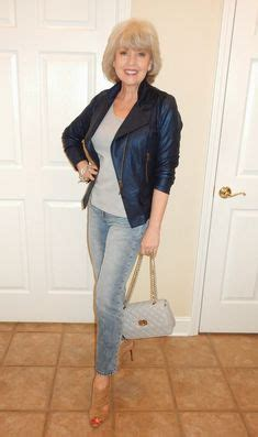 56 year old women style a 56 year old woman in a biker jacket and boyfriend jeans