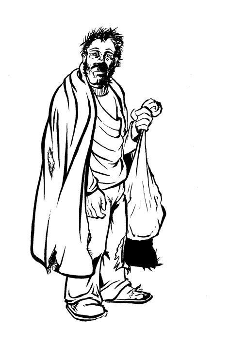 homeless person coloring page homeless man drawing sketch coloring page