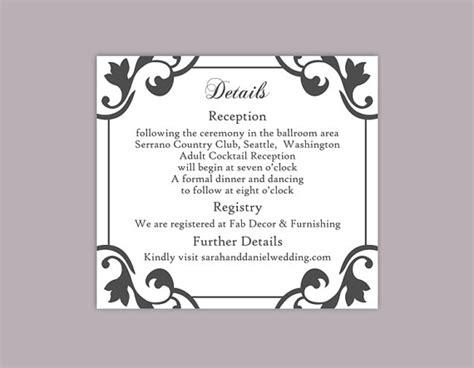 Free Printable Enclosure Card Templates by Diy Wedding Details Card Template Editable