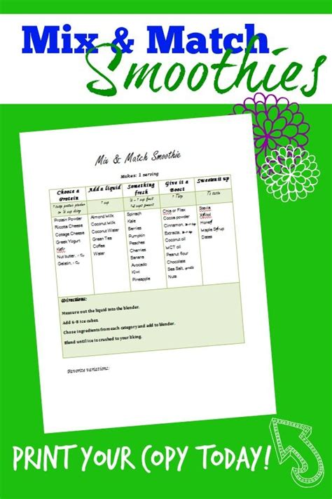 printable recipes for smoothies mix match smoothie printable chart ideas the o jays