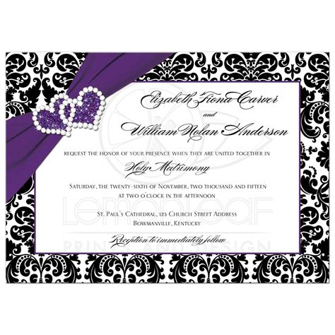 Wedding Invitations And White by Wedding Invitation Purple Black White Damask Joined