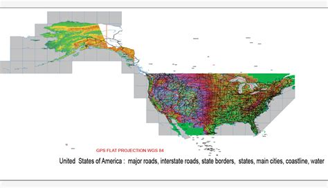 united states map projection us map vector 01 02 major roads states cities relief