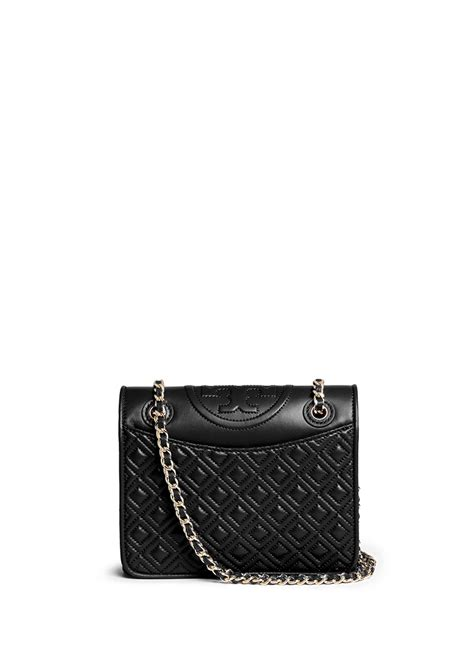 Burch Flemming Black lyst burch fleming medium quilted leather bag in black
