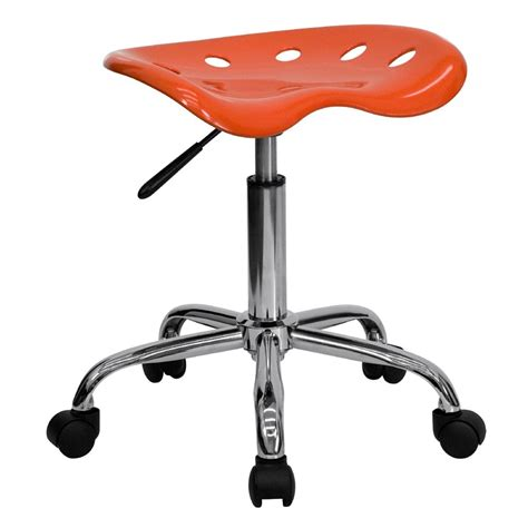 vibrant orange tractor seat and chrome stool