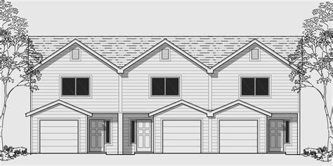triplex house plan townhouse with garage row house t 414 triplex house plans multi family homes row house plans