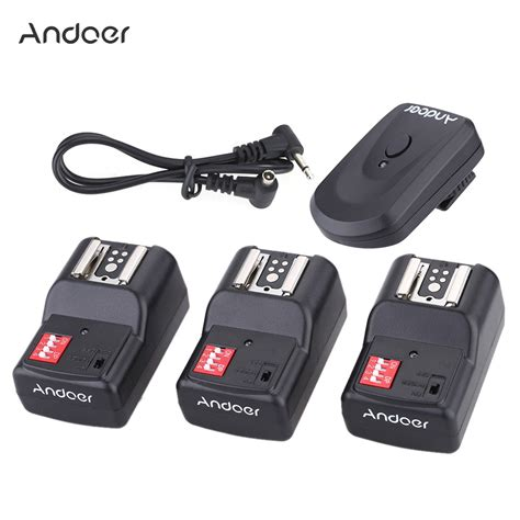andoer pt 04gy 16 channel wireless remote flash trigger set for canon nikon sigma with 1