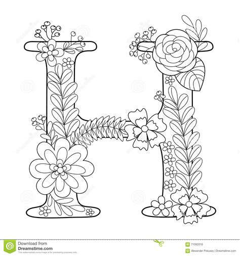 H Coloring Pages For Adults by Letter H Coloring Book For Adults Vector Stock Vector