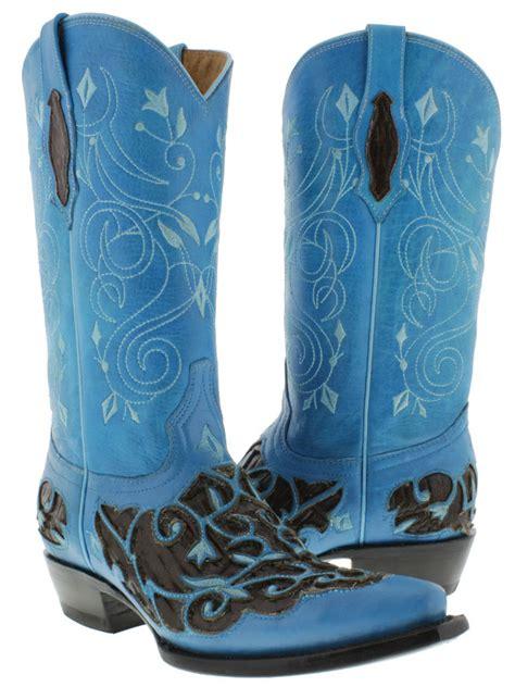 s floral boots s blue brown cowboy boots leather floral