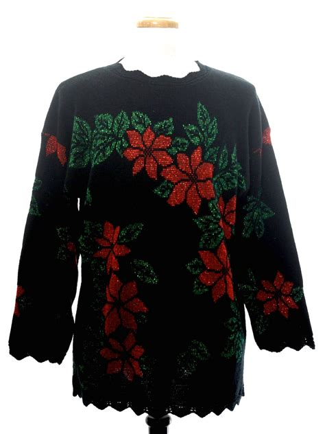 black pattern christmas jumper 1980 s retro vintage ugly christmas sweater 80s authentic