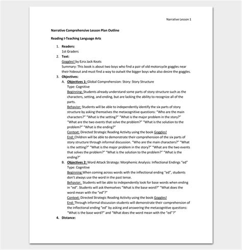 comprehensive plan template lesson plan outline template 23 exles formats and