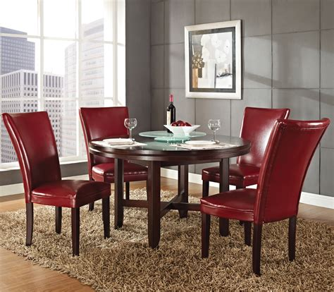 red dining room sets steve silver hartford 5 piece round dining room set w red