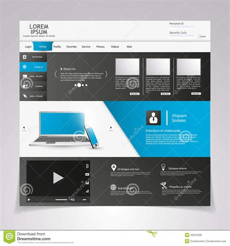 Eps Format Web | web design elements templates for website stock vector