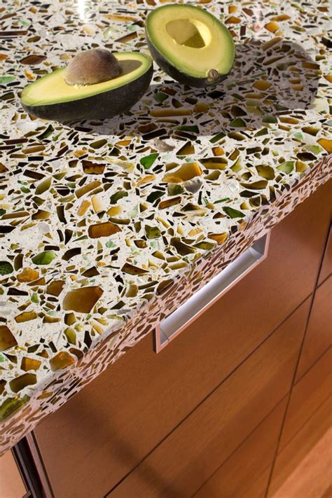 How To Make A Recycled Glass Countertop by Recycled Glass Countertops Kitchen With Cedar Bead Board