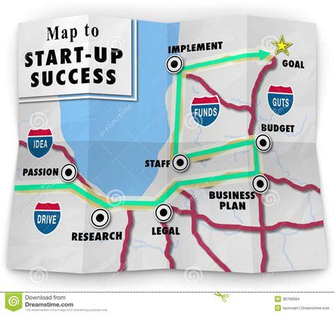 road map company map start up success road directions new business stock