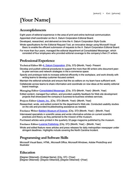 Resume Sample Different Positions Same Company 50 free microsoft word resume templates for download