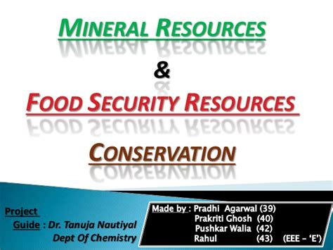 food security and mineral resources conservation