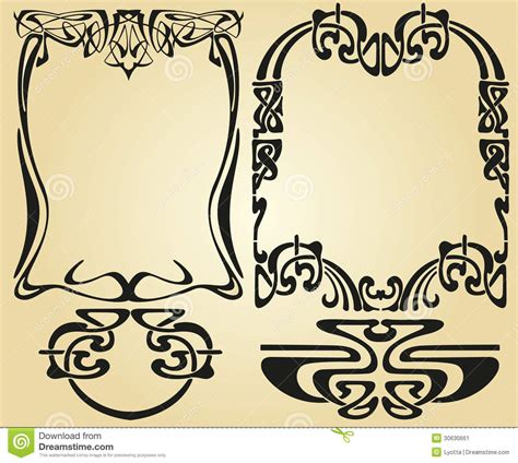 Art Nouveau Flower Tattoo - art nouveau design framework stock image image 30630661