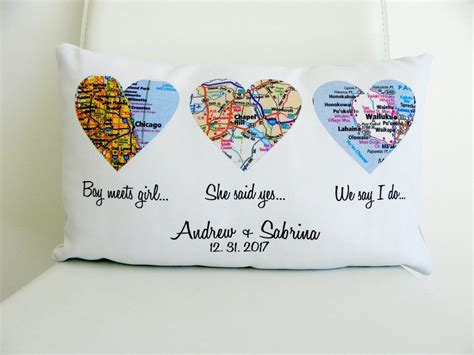 map pillow personalized wedding gift map the
