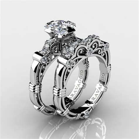 Wedding Rings With Sapphires And Diamonds by Masters Caravaggio 14k White Gold 1 25 Ct Princess