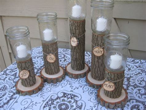 Rustic Wedding Decor Mason Jars Log Candle Holders. $54.95