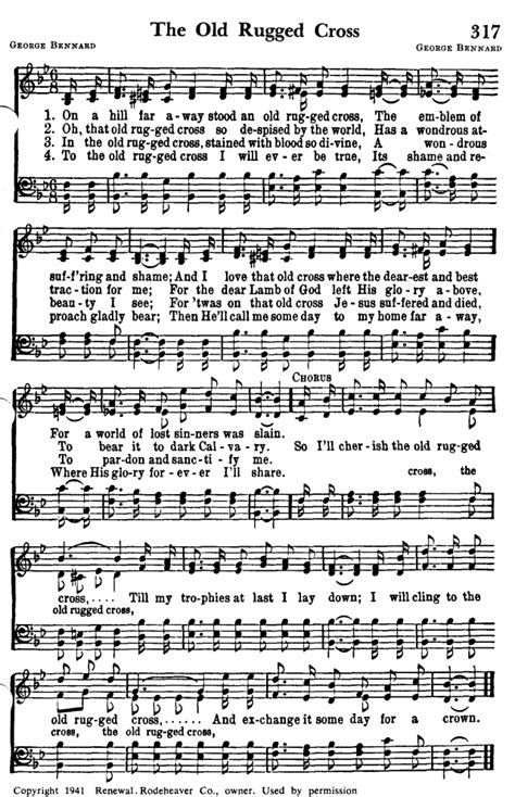 the rugged cross hymn favorite hymns of praise 317 on a hill far away stood and only rugged cross hymnary org