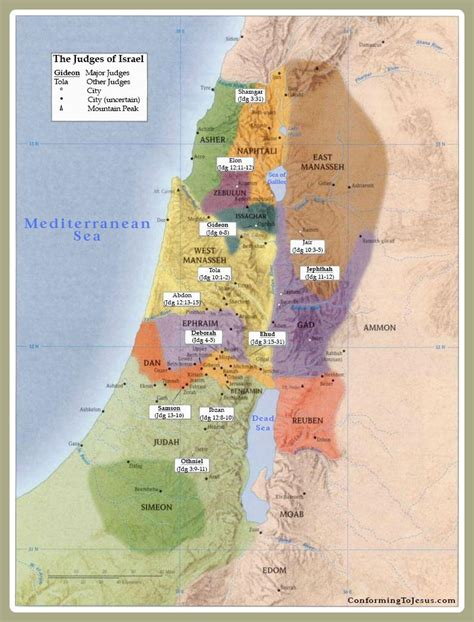 biblical map of israel judges of ancient israel map testament biblical judges