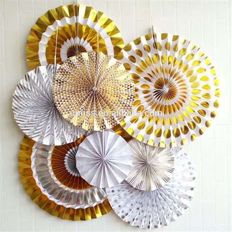 chinese paper fan decoration wholesale party supply metallic gold foil craft chinese