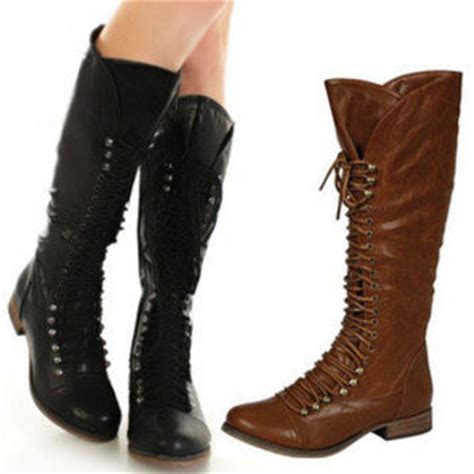 new womens knee high combat boots from