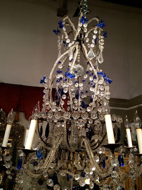 Cobalt Blue Chandelier Venetian And Cobalt Blue Chandelier At 1stdibs