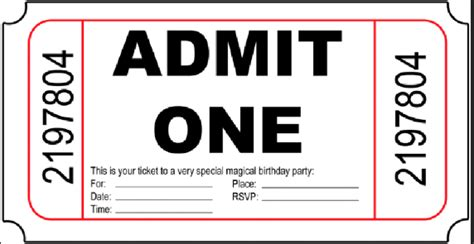 admit one ticket invitation template 10 free birthday printablesmade peachy