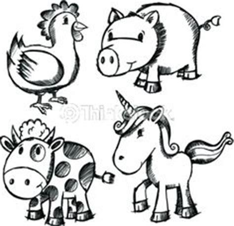 doodle animals doodle sketch animal set including unicorn