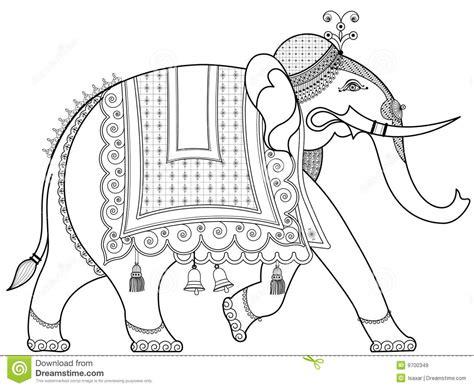 war elephant coloring pages verfraaide indische olifant vector illustratie