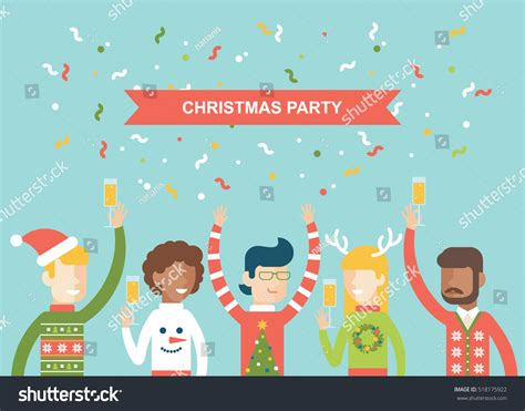 christmas party happy people celebrating christmas stock vector  shutterstock