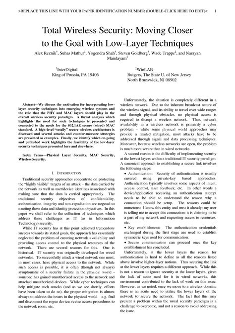 wireless security research paper total wireless security moving closer to the goal with
