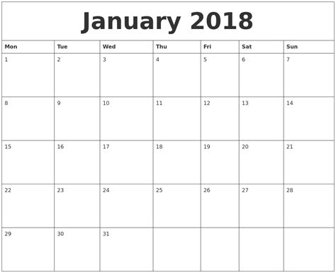 printable monthly calendar 2018 january 2018 free printable monthly calendar