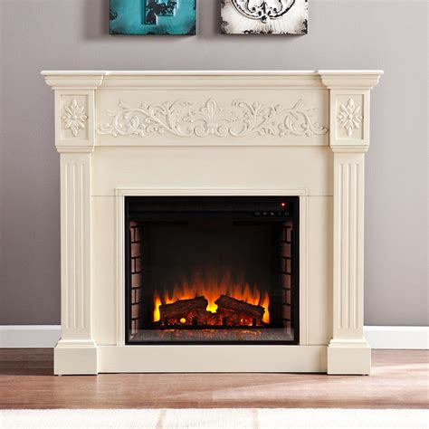 calvert carved ivory electric fireplace fe