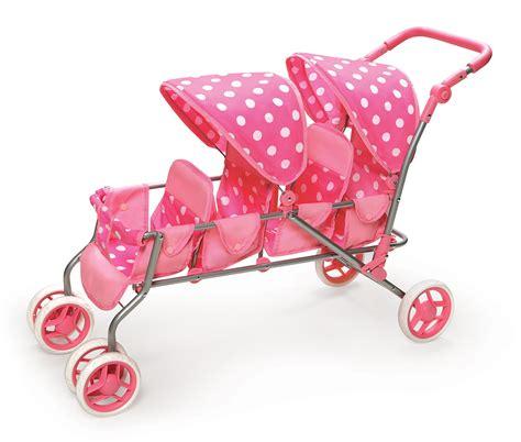 4 seat doll stroller badger basket inline doll stroller pink polka dots