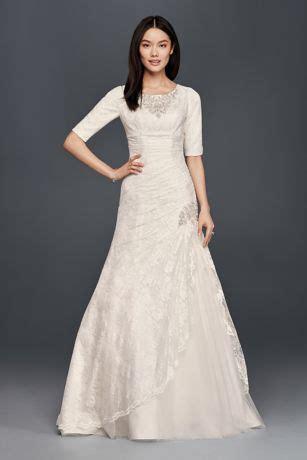 scoop neck beaded wedding dress   sleeves davids