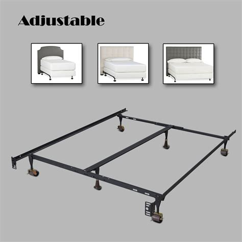 Metal Bed Frame Support Parts Heavy Duty Metal Bed Frame Adjustable W Center Support Platform Ebay