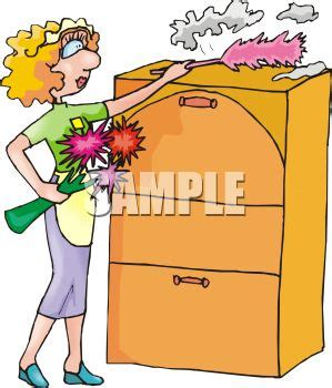 Filing Cabinet Furniture Maid Dusting A Filing Cabinet Royalty Free Clip Art Image