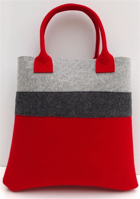 Handcrafted Bags - handmade bag felt tote and gray shopper shopping