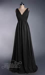 empire v neckline black long evening dress dvw0173