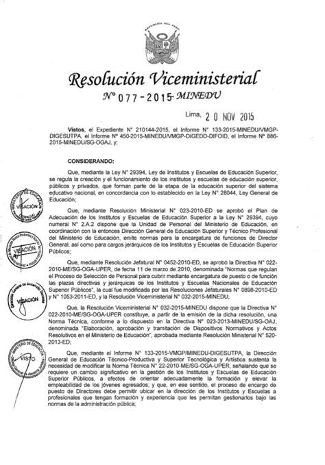 norma para proceso de encargatura de plazas de director rvm n 176 077 2015 minedu modifican norma t 233 cnica n 176 022 2010