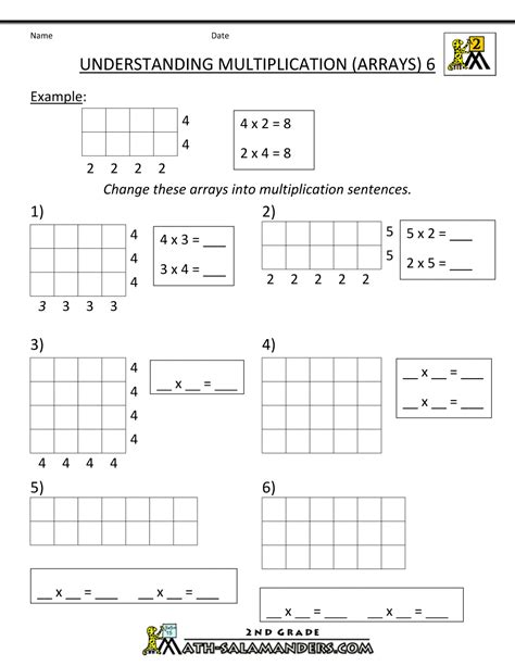 Math Models Worksheets by Array Math Worksheets Multiplication Arrays