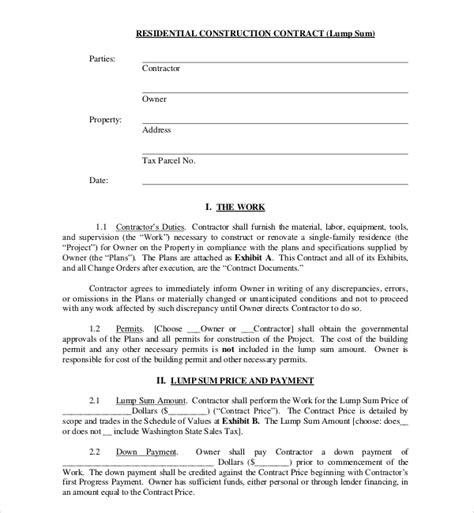 10 Sle Construction Contract Forms Sle Forms Residential Construction Contract Template