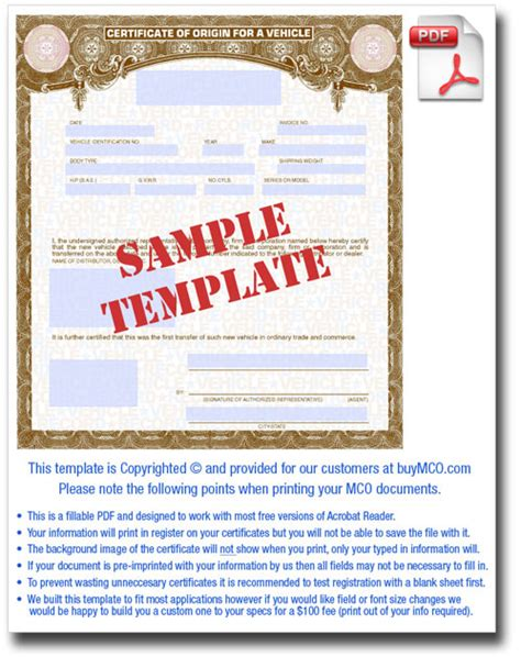 certificate of origin for a vehicle template mco template buy manufacturer certificate of origin s