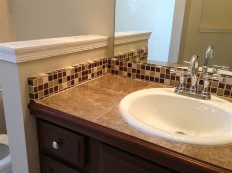 bathroom tile countertop ideas tile countertop and backsplash traditional bathroom jacksonville by chris jones home