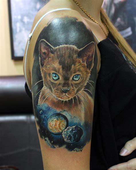 cat tattoo universe open space cat tattoo best tattoo ideas gallery