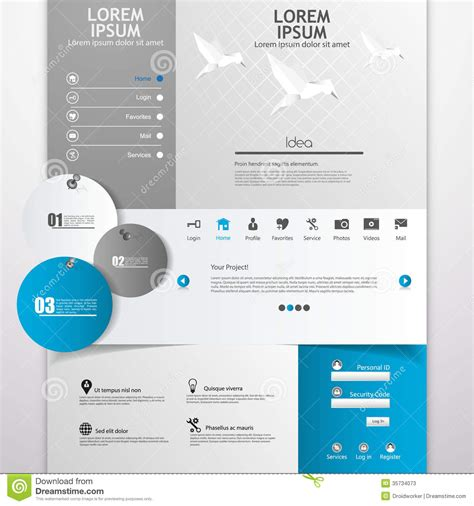 eps format web clean modern website template stock vector image 35734073